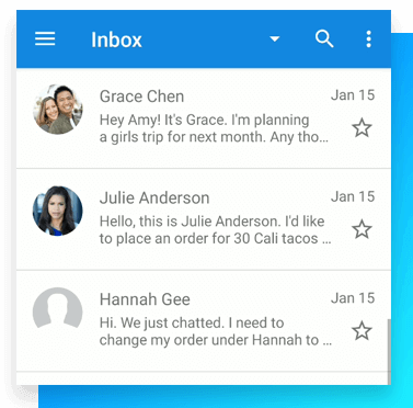 Image of list of visual voicemail inbox