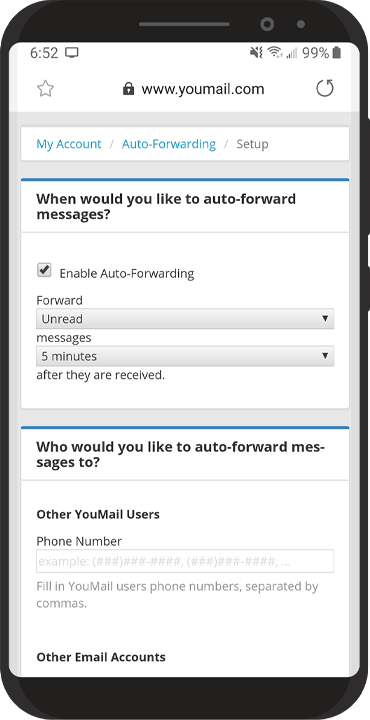 Image of auto forwarding settings.