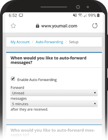 Image of auto forwarding settings on mobile.