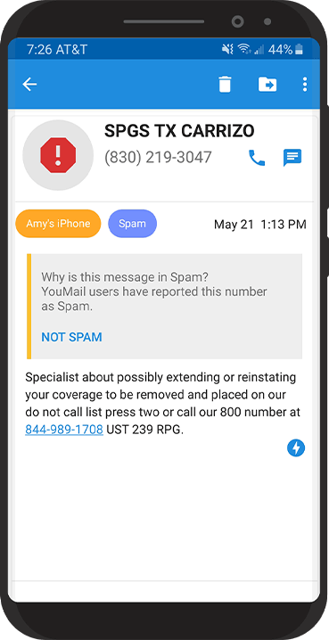 Image of blocked call details on phone