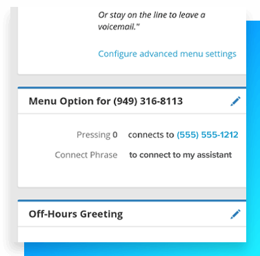 Image of call transfer menu options.
