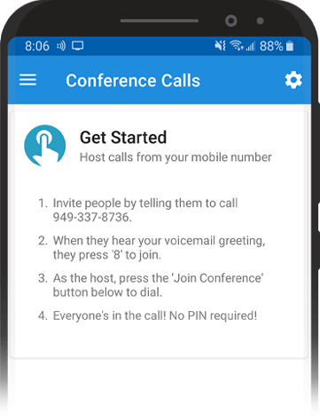 Image of get started with conference calls on mobile.