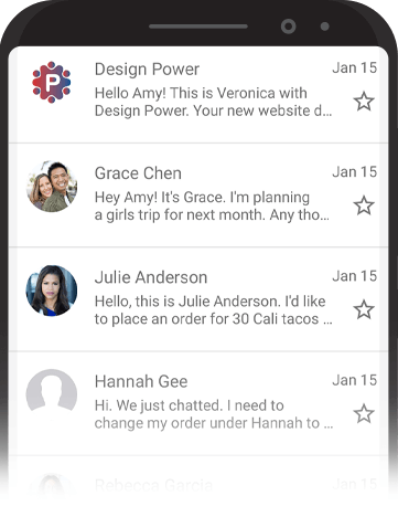 Image of inbox on phone